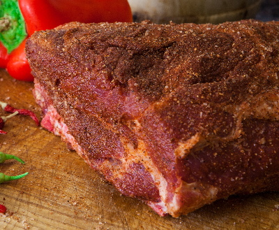 Dry rubbed roast ready to go into your electric masterbuilt smoker