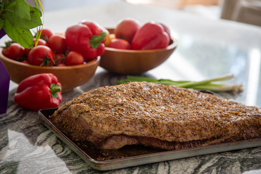 How long should dry rub be on a brisket
