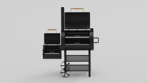 Barbecue texas smoker 3d render on white background isometric from front