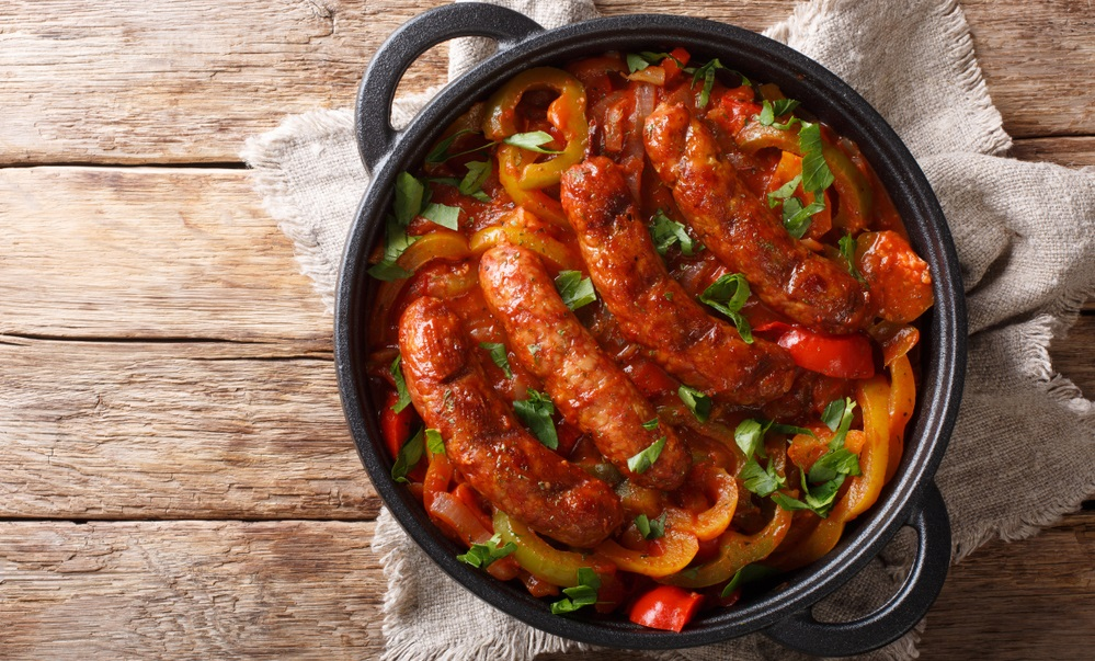 Italian food grilled sausage with grilled peppers